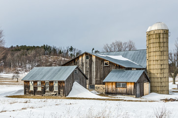 Sunlit Barns and Silos in Winter 108731
