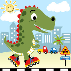 Playing roller skate in city with big monster cartoon