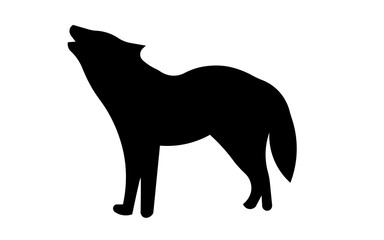 howling wolf silhouette clip art on white background