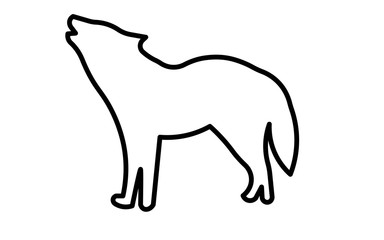 howling wolf silhouette clip art outline on white background