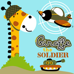 Giraffe cartoon with military toys