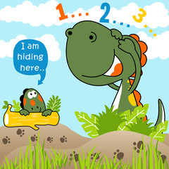 Playing hide and seek with funny dinosaurs
