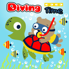 Diving time with animals cartoon