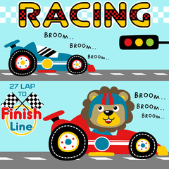 Car racing cartoon with cute lion