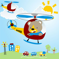 Baby animal cartoon on helicopter