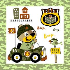 animals soldier cartoon on military car