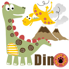 Dinosaurs cartoon vector on white background