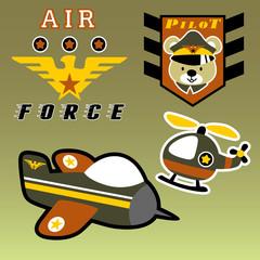 Air force with animal pilot head cartoon