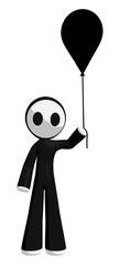 Character Mascot Holding Black Balloon