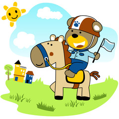 Riding sports with cute bear cartoon