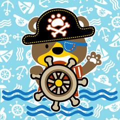 Happy pirate cartoon on sailing equipment pattern