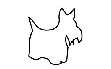 scottie dog silhouette outline on white background