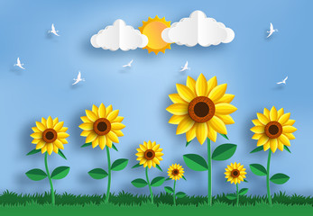 Paper art style of sunflower field landscape, flat-style vector illustration.