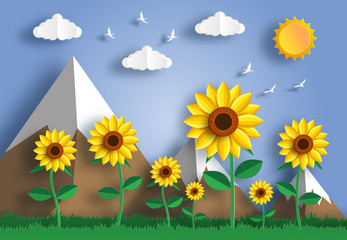 Paper art style of sunflower field landscape with blue sky and mountain background,flat-style vector illustration.