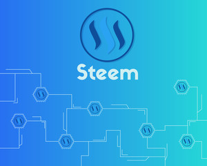 Blockchain Steem networking concept background collection