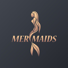 Mermaid logo icon design, vector illustration