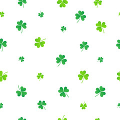 Green clover seamless pattern vector illustration. St. Patrick's Day texture background