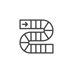 Pathway board game outline icon. linear style sign for mobile concept and web design. simple line vector icon. Symbol, logo illustration. Pixel perfect vector graphics