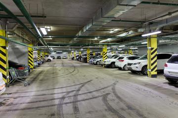 Underground parking with cars