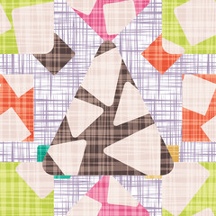 Retro Design backdrop with geometric shapes vector illustration. Seamless pattern background with rhombus, square, triangle and circle.