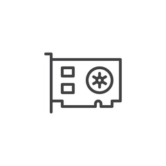 Computer video card outline icon. linear style sign for mobile concept and web design. Computer parts simple line vector icon. Symbol, logo illustration. Pixel perfect vector graphics