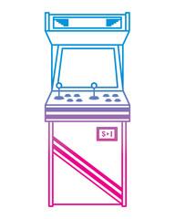 vintage arcade game machine with joysticks and buttons vector illustration degrade color line image