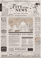 Design of old vintage newspaper template showing articles with headlines.