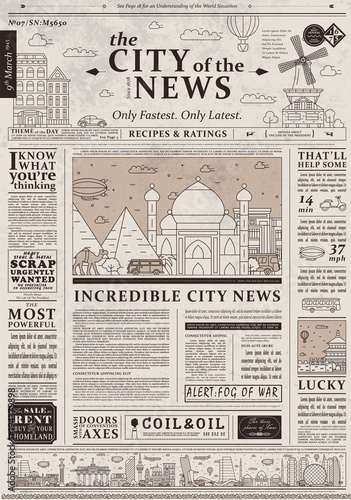 u0026quot design of old vintage newspaper template showing articles with headlines  u0026quot  stock image and