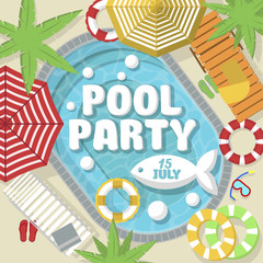 Illustration of graphic colorful inviting card announcing about pool party in creative design.