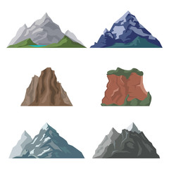 Illustration of set with various mountains peaks and summits isolated on white.