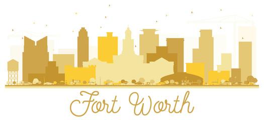 Fort Worth Texas USA City skyline Golden silhouette.
