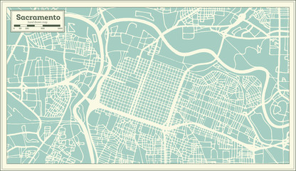 Sacramento California USA City Map in Retro Style. Outline Map.