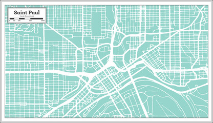 Saint Paul Minnesota USA City Map in Retro Style. Outline Map.