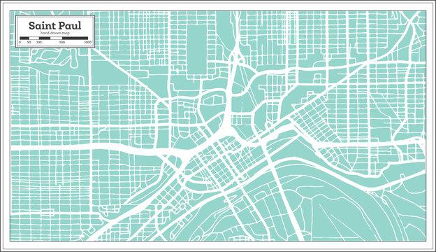 Saint Paul Minnesota USA City Map in Retro Style. Outline Map.