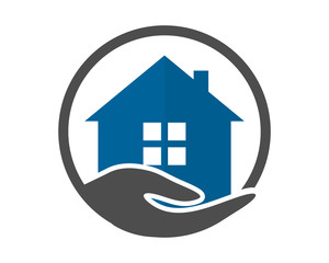 house housing home residence residential real estate blue circle hand