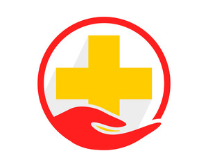 circle hand yellow cross medical medicare pharmacy pharmacist clinic image vector