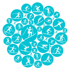 round winter sport game symbol