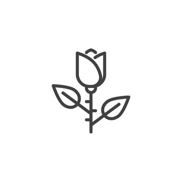 Rose flower outline icon. linear style sign for mobile concept and web design. floret simple line vector icon. Symbol, logo illustration. Pixel perfect vector graphics