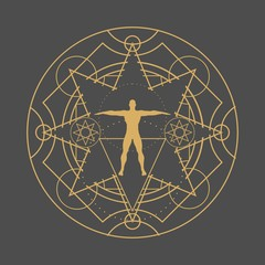 Mystery, witchcraft, occult and alchemy tattoo sign. Mystical vintage gothic geometry thin lines symbol with silhouette of a muscular man