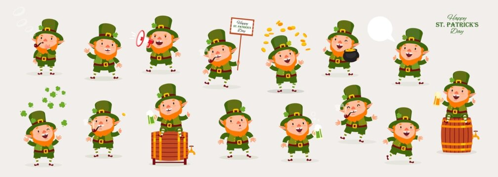 Leprechaun, Patricks Day, Great Collection of Emotional Characters, Isolated Objects for Design, Vector Illustration, Large Set