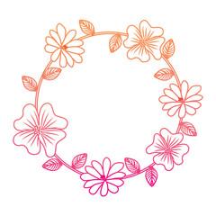 floral wreath leaves decoration natural vector illustration degrade color line image