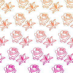 rose and lily flower decorative pattern background vector illustration degrade color line image
