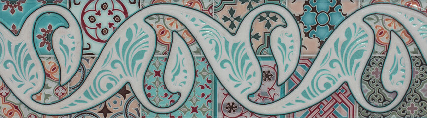 abstract floral Moroccan pattern, ceramic tile