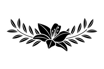 cute flower lily and branch with leaves foliage decoration vector illustration black image