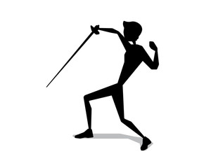 fencing silhouette movement illustration design.silhouette style design.designed for web and print
