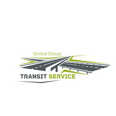 Road crossroad vector icon for transit service