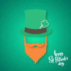 Origami of Irishman. Saint Patrick's Day card. Vector illustration.