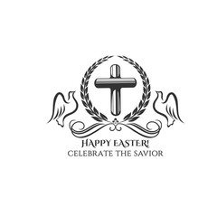 Happy Easter cross and doves vector icon