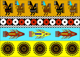 Ethnic patterns of Native Americans: the Aztec, Inca, Maya, Alaska Indians (Mexico, Ecuador, Peru). Vector illustration