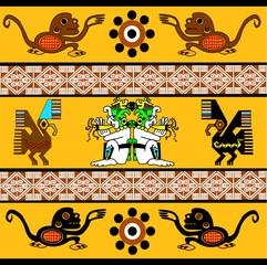 Ethnic patterns of Native Americans: the Aztec, Inca, Maya, Alaska Indians (Mexico, Ecuador, Peru). Monkey, eagle, sun. Decor in the Mexican style. Vector illustration.